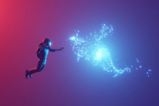 An astronaut watching a non-known luminous object, a cloud in zero gravity. 3D rendering