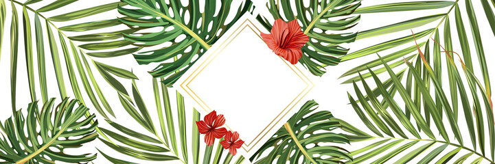 Tropical background. Flower and palm wallpaper. Vector jungle illustration. Green tropical background banner