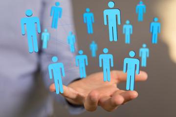 3d social human connection concept