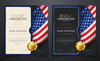 Set of patriotic achievement certificate with USA flag, luxury elegant gold style cover