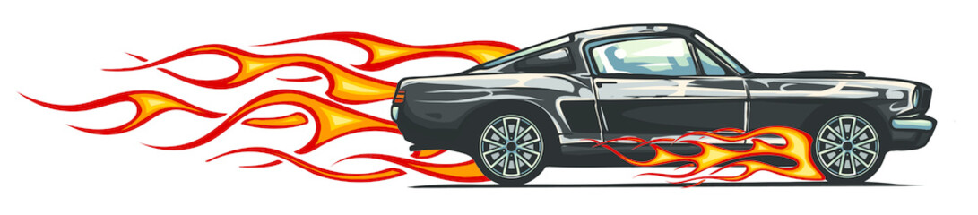 Poster Cartoon cars vector muscle car with flames Crazy race