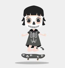Kid halloween character wearing skeleton with skateboard