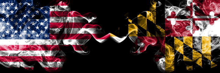 United States of America, USA vs Maryland state background abstract concept peace smokes flags. Fototapete