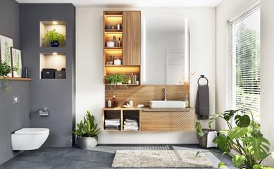 Beautiful modern bathroom with window
