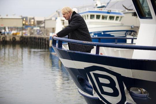 Britain's Prime Minister Boris Johnson is seen aboard the Opportunus IV fishing trawler in Peterhead