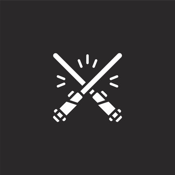 light saber icon. Filled light saber icon for website design and mobile, app development. light saber icon from filled sci fi collection isolated on black background.