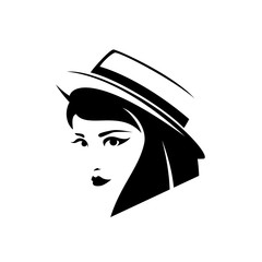 woman with short stylish haircut wearing boater hat black and white vector portrait