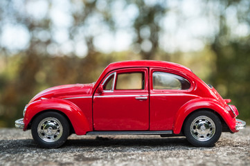 Mulhouse - France - 16 October 2018 - closeup of vintage red miniature volkswagen bettle  in outdoor