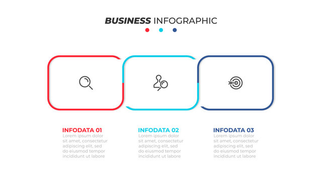 Vector business infographic. Timeline with 3 steps or options and marketing icons. Can be used for workflow layout, diagram, annual report, web design and presentations.