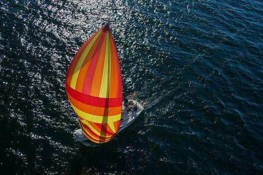 Segelyacht mit Spinnaker (orange), Luftaufnahme