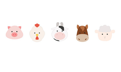 Set of cartoon farm animals, face of pig, rooster, cow, horse, sheep