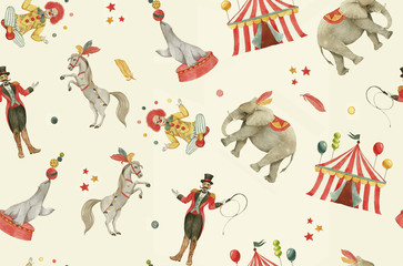 Hand drawn watercolor seamless pattern with circus animals, clown, tent, artists. Childish cartoon colorful background, repeated circus pattern in retro style