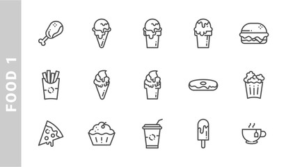food 1 icon set. Outline Style. each made in 64x64 pixel