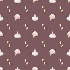 Seamless pattern with garlic heads and cloves