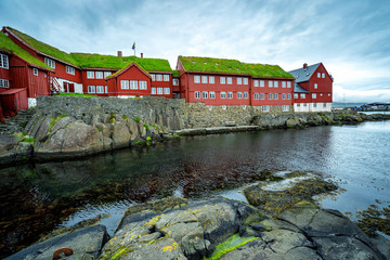 Parliament Tinganes in Torshavn on Faroe islands.
