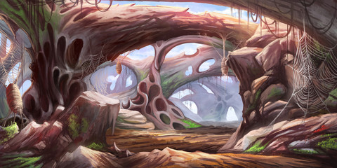 Foto auf Acrylglas Schokobraun The Cave. Science Fiction Natural Backdrop. Concept Art. Realistic Illustration. Video Game Digital CG Artwork. Nature Scenery.