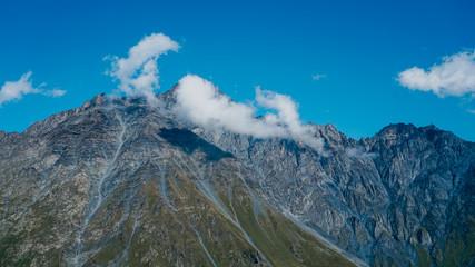 View of Kazbegi, Georgia. Beautiful natural mountain background. Summer