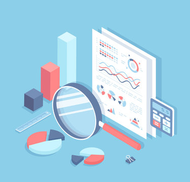 Business auditing, analysis, accounting, calculation, analytics. Documents with charts and graphs for review. Documentation, magnifying glass, calculator. Financial report. Isometric 3d