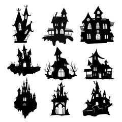 Set of haunted houses for Halloween. Collection of castles with monsters. Black house sieves. Vector illustration for kids. Tattoo.