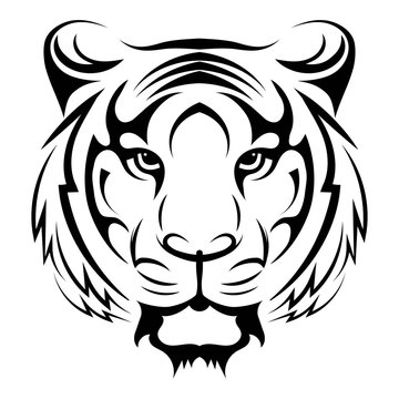 Tiger logo. Black white illustration of a tiger head. Portrait of a predator. Tattoo wild cats.