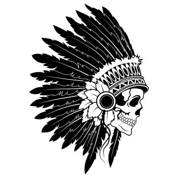 Indian skull with headdress of feathers. The leader of a tribe of Indians. Totem. Line art. Black and white drawing by hand. Tattoo.