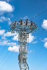 Power distribution tower with transformer