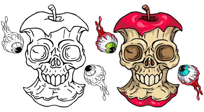 Apple Skull with flying eyes set for your Halloween designs. Line art and colored versions