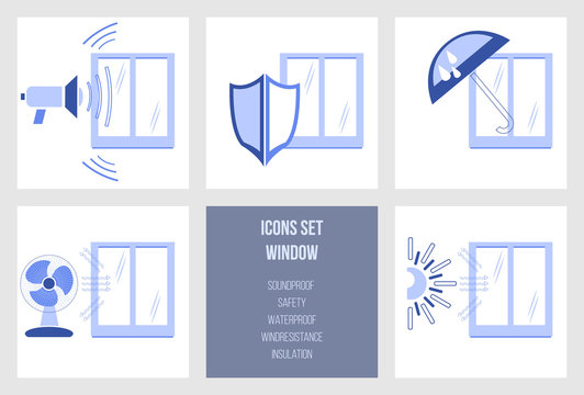 Set of icons of window characteristics safety, waterproof, soundproof, wind resistance and temperature insulation. Icon group for windows production process