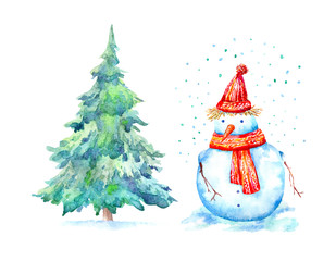 Snowman,snowflake and spruce tree.Winter and Christmas pattern.Sketch.Watercolor hand drawn illustration.White background.