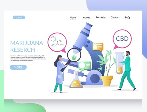 Marijuana research vector website landing page design template