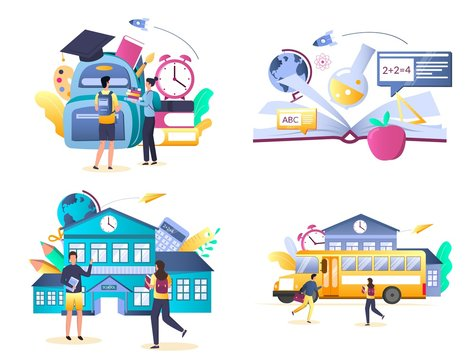 School and education vector isolated illustration set