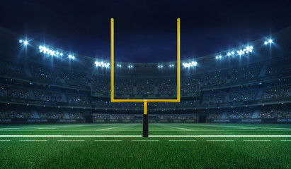 American football league stadium with yellow goalpost front and fans, illuminated field frontal view at night, sport building 3D professional background illustration