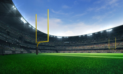 American football league stadium with yellow goalposts and fans, daytime field view, sport building 3D professional background illustration