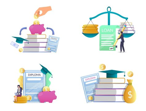 Student loan vector concept isolated illustration set
