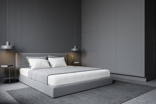 Gray modern master bedroom corner