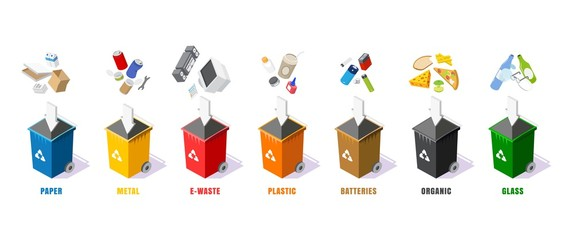 Garbage containers in different colors, vector isolated illustration