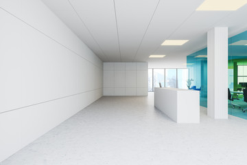 White office with reception table