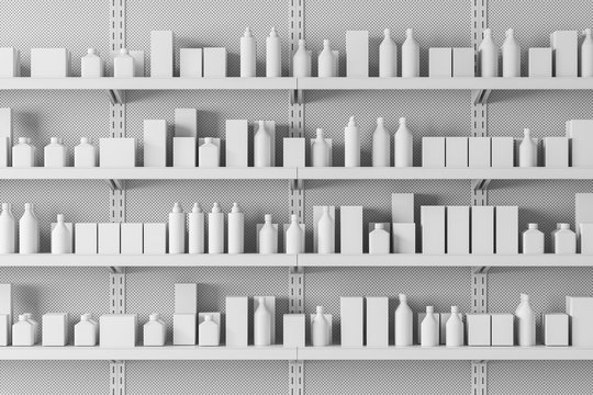 Close up of supermarket shelves with products