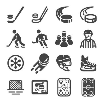 ice hockey sport and recreation icon set,vector and illustration
