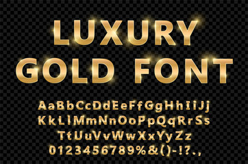 Shiny modern gold font isolated on black transparent background. Vintage golden numbers and letters with shadows. Detailed 3d alphabet. Typography yellow gold bold mockup. Anniversary letters. Vector