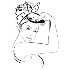 Strong girl in eyeglasses. Classical american symbol of female power, woman rights, protest, feminism. Black and white illustration.