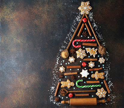 Abstract Christmas tree made of cookies and spices