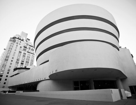 New York, USA; 30th Aug 2012: Guggenheim museum building in black and white