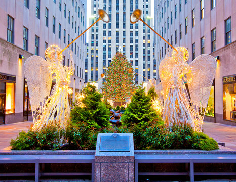 New York, USA; circa Dec 2011: The famous Rockefeller Center Christmas tree and decorations in front of 5th Avenue