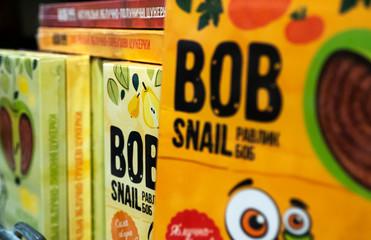 Candy Bob Snail natural apple and pumpkin  is seen  on store shelf