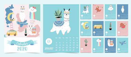 Doodle animal calendar set 2020 with llama,cloud,rainbow,sloth,panda for children.Can be used for printable graphic.Editable element
