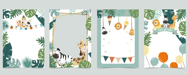 Green animal collection of safari frame set with lion,giraffe,zebra vector illustration for birthday invitation,postcard,logo and sticker