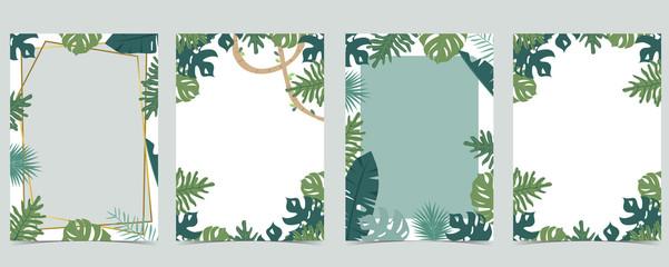 Obraz Green animal collection of safari frame set with leaf,leaves vector illustration for birthday invitation,postcard,logo and sticker - fototapety do salonu