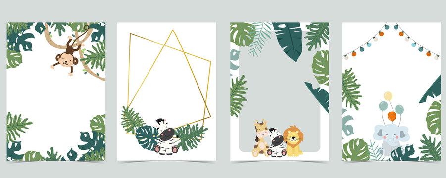 Green animal collection of safari frame set with lion,giraffe,zebra,elephant vector illustration for birthday invitation,postcard,logo and sticker