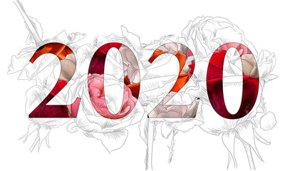 Illustration of roses_year 2020_inside colored red_transparent_by jziprian
